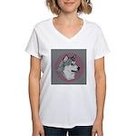 Gray Alaskan Malamute Women's V-Neck T-Shirt