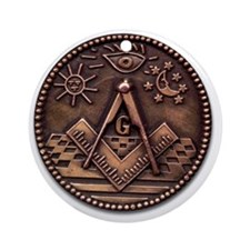 Masonic Coin Round Ornament