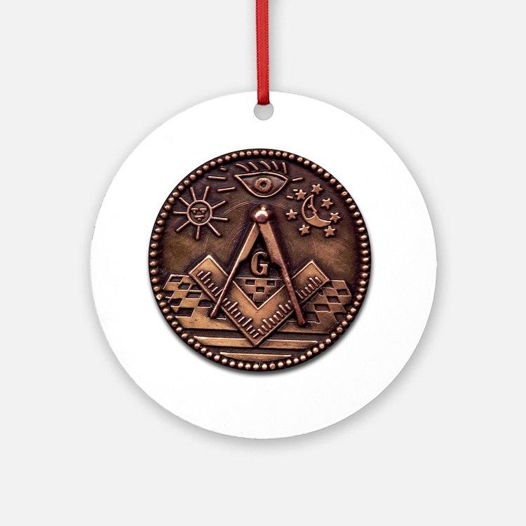 Masonic Coin Round Ornament