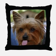 FunnyYorkieShower Throw Pillow