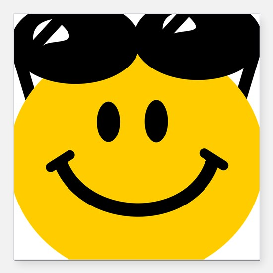 "Perched Sunglasses Smile Square Car Magnet 3"" x 3"""