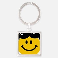Perched Sunglasses Smiley Square Keychain