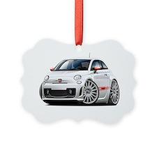 Fiat 500 Abarth White Car Ornament