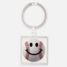 Baseball Smiley Square Keychain