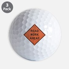 ROAD SIGN: Road Work Ahead Golf Ball