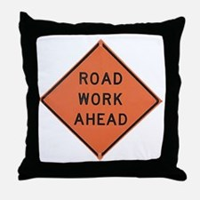 ROAD SIGN: Road Work Ahead Throw Pillow