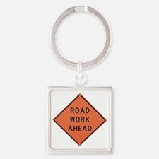 ROAD SIGN: Road Work Ahead Square Keychain