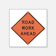 """ROAD SIGN: Road Work Ahead Square Sticker 3"""" x 3"""""""