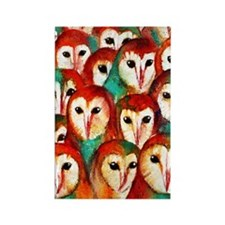 Crowded Owls Rectangle Magnet