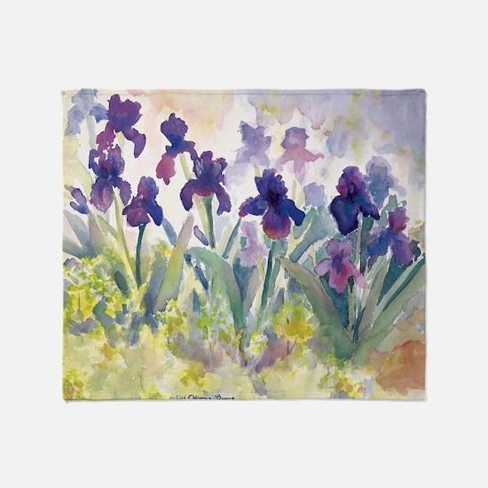 SQ Purp Irises for CP shower curtain Throw Blanket