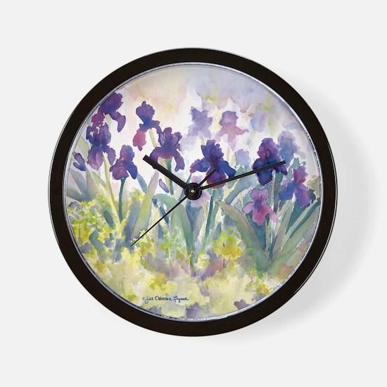 SQ Purp Irises for CP shower curtain Wall Clock