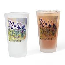 SQ Purp Irises for CP shower curtai Drinking Glass