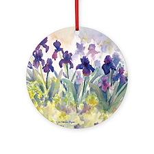 SQ Purp Irises for CP shower curtai Round Ornament
