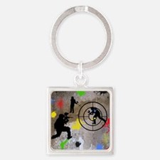 Paintball Aim Queen Square Keychain