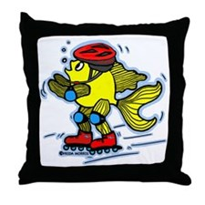 Rollerblade Fish Skater Fish FabSpark Throw Pillow