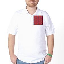 Duvet King Aqua owl pattern red T-Shirt