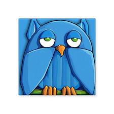 """Duvet King Aqua owl aqua Square Sticker 3"""" x 3"""""""
