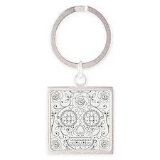 calavera_glass Square Keychain