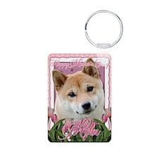 PinkTulipsShibaInuMOM_5x7_ Keychains