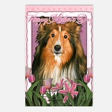 PinkTulipsSheltie_5x7_V Postcards (Package of 8)