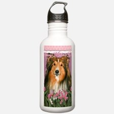PinkTulipsSheltie_5x7_ Water Bottle