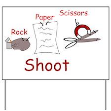 Rock Paper Scissors Rock Wins Yard Sign