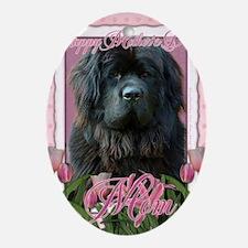 PinkTulipsNewfoundlandMOM_5x7_V Oval Ornament