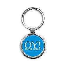 oy to world Round Keychain