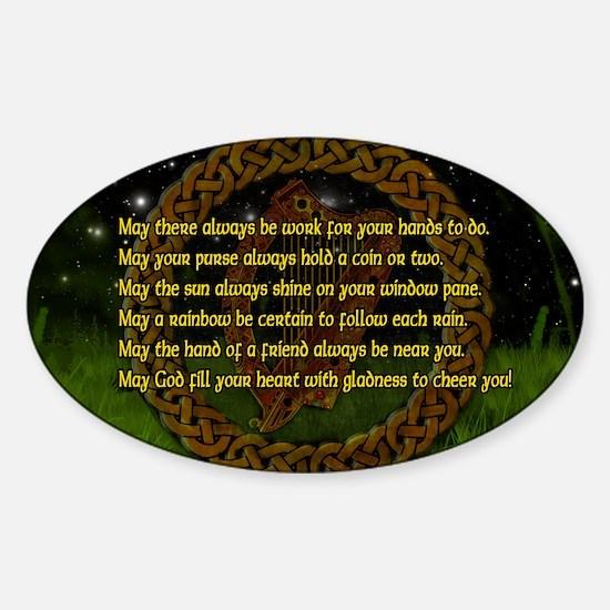 IRISH-BLESSING-14x10_LARGE-FRAMED-p Sticker (Oval)