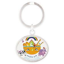 Noahs Ark Animals Oval Keychain