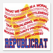"REPUBLICRAT Square Car Magnet 3"" x 3"""