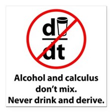 "drinkDerive1A Square Car Magnet 3"" x 3"""