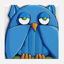 ROUND Aqua Owl Tile Coaster