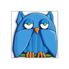 "ROUND Aqua Owl Square Sticker 3"" x 3"""