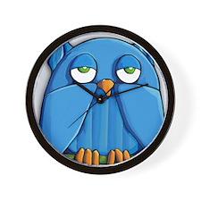 ROUND Aqua Owl Wall Clock