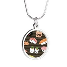 sushimousepadcp Silver Round Necklace