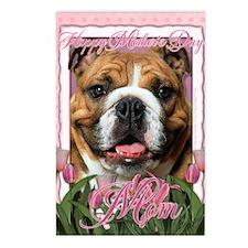 PinkTulipsBulldogDkMOM_5x Postcards (Package of 8)