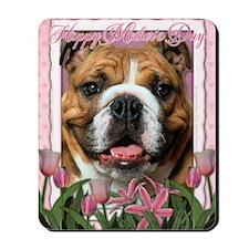 PinkTulipsBulldogDk_5x7_V Mousepad