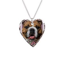 PinkTulipsBulldogDk_5x7_V Necklace