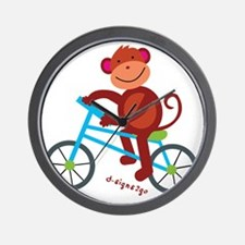 Monkey in Blue Bike Wall Clock