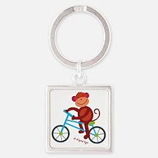 Monkey in Blue Bike Square Keychain