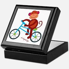 Monkey in Blue Bike Keepsake Box
