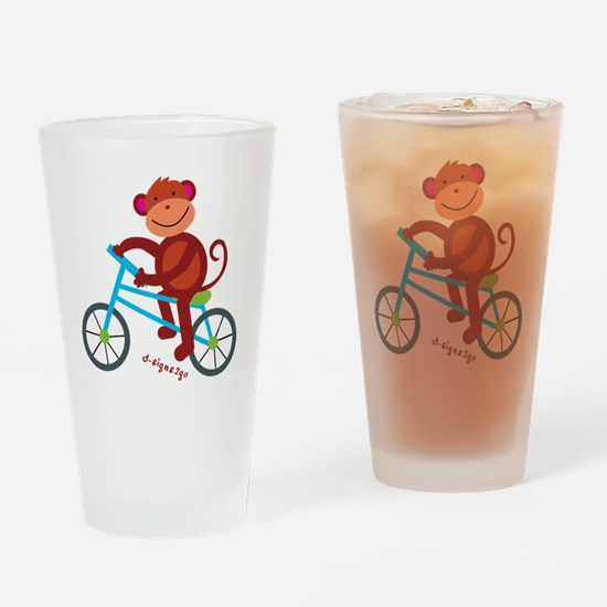 Monkey in Blue Bike Drinking Glass