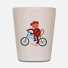 Monkey in Blue Bike Shot Glass