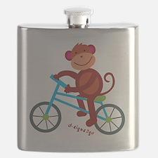 Monkey in Blue Bike Flask