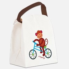 Monkey in Blue Bike Canvas Lunch Bag