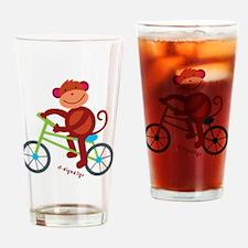 Monkey in Green Bike Drinking Glass