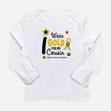 I Wear Gold 12 Cousin CHILD CANCER Long Sleeve T-S