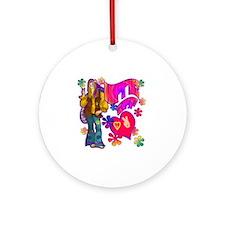 HIPPIE-AT-HEART-TEE Round Ornament