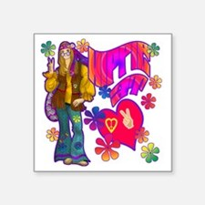"HIPPIE-AT-HEART-TEE Square Sticker 3"" x 3"""